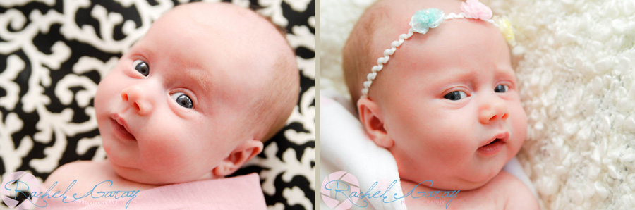 Two photos of one month old B, posing for her studio portraits!