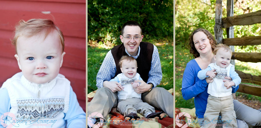 Parents and child smiling in this Rockville outdoor portraits session