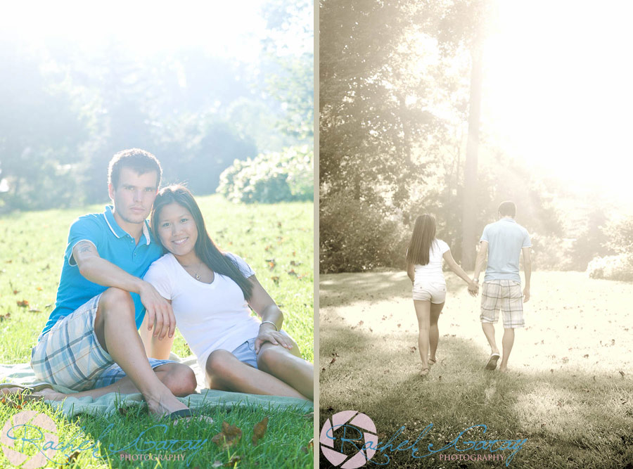 Stephanie and Paul smiling in these couples portraits!