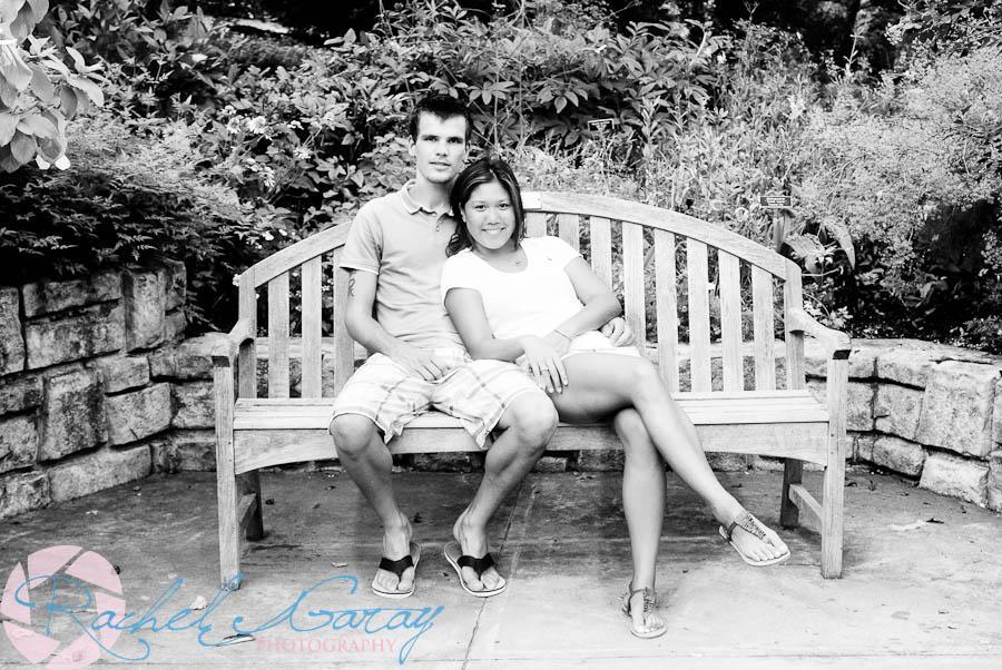 Young couple on park bench in this photography session